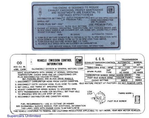 1972 OLDSMOBILE 442 4-4-2 W30 W30 455 4BBL ENGINE EMISSIONS DECAL STICKER NEW